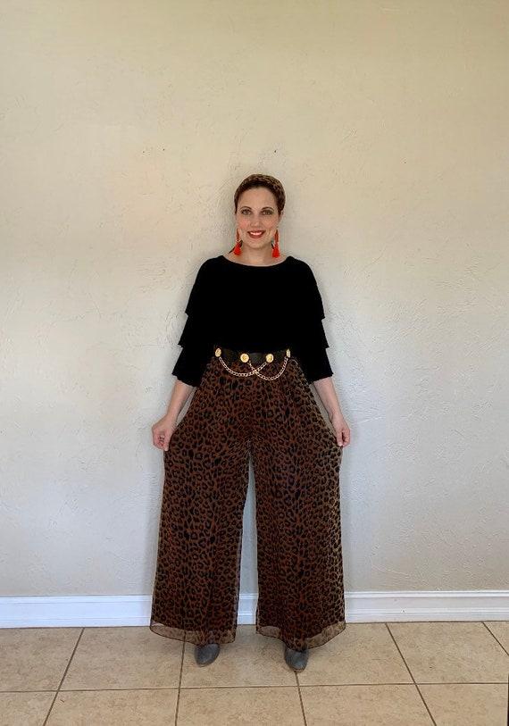 Vintage 1970s wide legged leopard palazzo pants, … - image 1