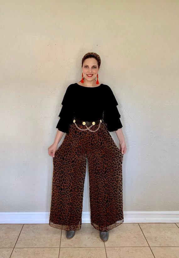 Vintage 1970s wide legged leopard palazzo pants, … - image 2