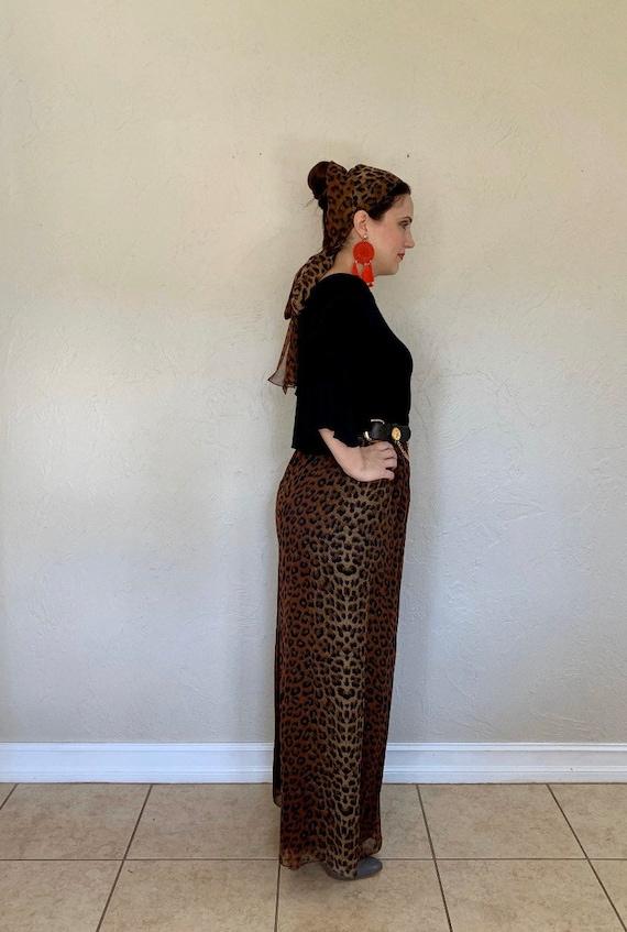 Vintage 1970s wide legged leopard palazzo pants, … - image 4