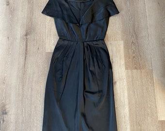 Vintage 1940s inky black silk / satin lace-embellished plunge neckline wiggle dress, size Small