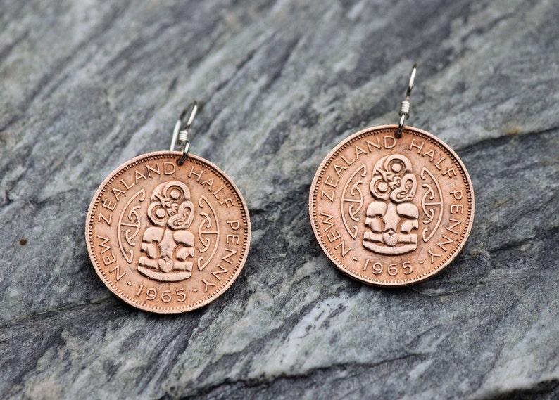 Coin Earrings New Zealand / Tiki Coin Earrings / Silver Hook / Half Penny  Coin / Maori Tiki / Copper /Genuine Pre Decimal Coins