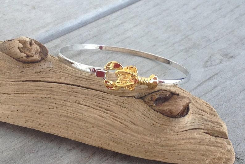 523934f28b7348 Two tone lobster bracelet   Etsy
