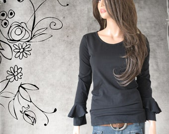 3c77ef8ce66c Woman Ruffle sleeve top - knit pull over - black tee shirt - scoop neck  shirt