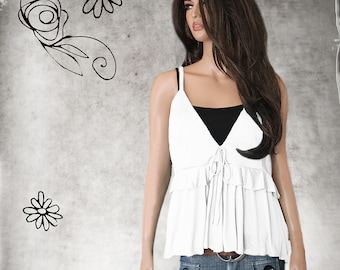 Lovely Victorian Inspired Trapeze Top with Sheer Top and Embroidered Floral Motif