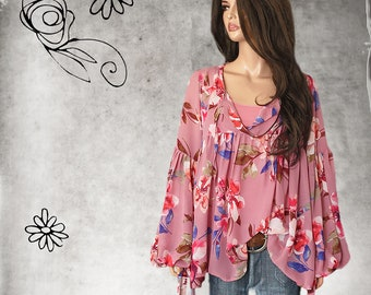 Light pink sweaterextra long scrunch sleevecrew neckpull over blouse
