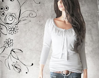Ruffle front top - Keyhole tie adjustable - mid sleeve - wide neck - pull over blouse