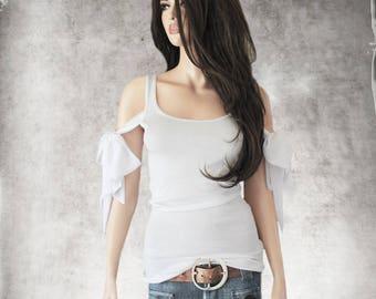 White tank top/adjustable chiffon sleeve ties/sleeveless tee