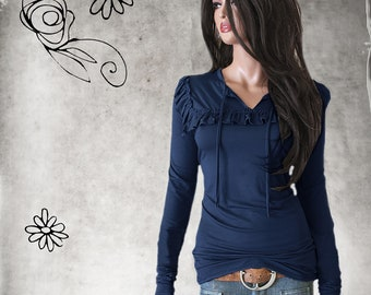 Navy top woman - Keyhole ruffle neck - extra long lengths - pull over tee