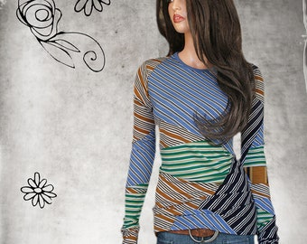 Retro graphic print - woman crew top - office coordinate layer - extra long lengths - pull over tee - no iron