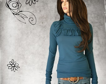 Blue light turtleneck - extra long sleeves optional -  square ruffle chest - office coordinate layer - pull over top