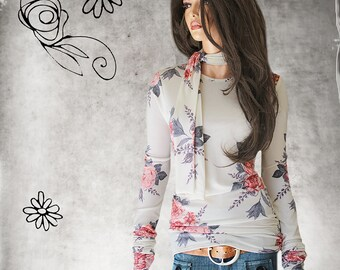 Removable neck tie - rose knit top - office coordinate layer - extra long lengths - pull over tee