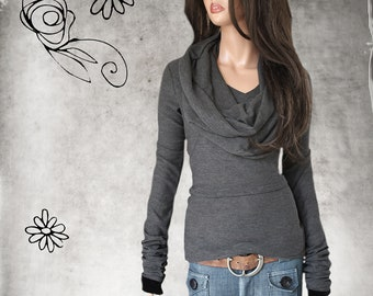 Sweater light removable cowl - gray pull over - woman deep v - extra long sleeves