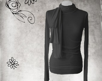 High turtle neck - woman neck bow - Office coordinate layer - extra long lengths - pull over top - woman black knit