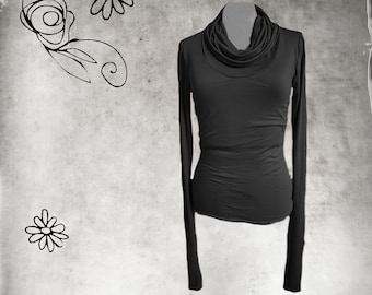 Cowl neck woman - extra long sleeves optional - pull over knit woman - office attire