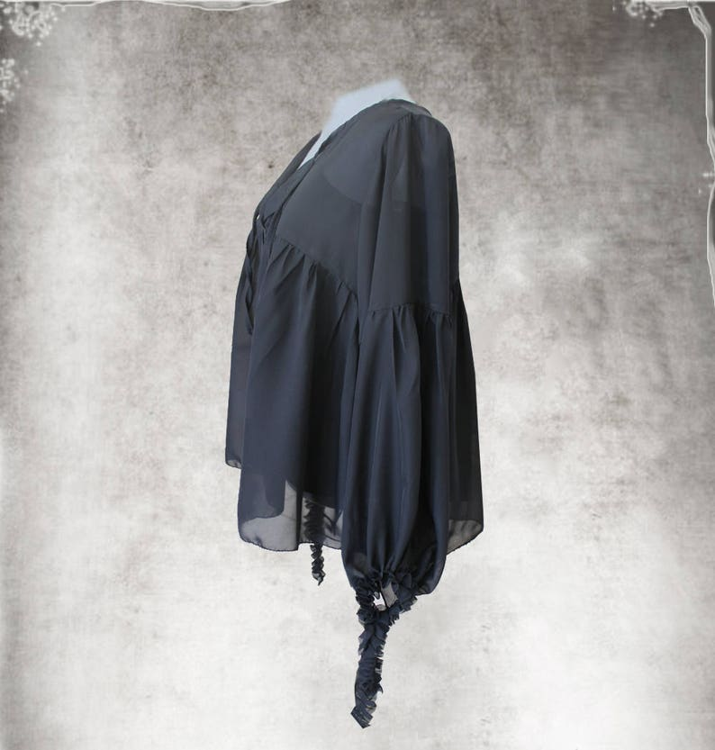 Black blouse chiffonPeasant topLong sleeve shirtPleated ties