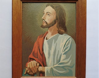 Vintage Paint By Number PBN Jesus Oil Painting entitled Religious Subjects 10 x 14 framed
