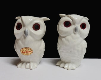 Vintage white owl salt & pepper shakers set bone china Japan