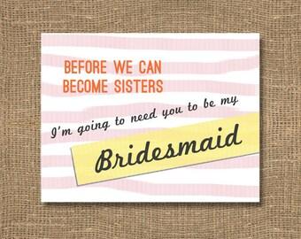 Bridesmaid Invitation / Bridal Party Card for Bridesmaid / How to Ask a Bridesmaid / Maid Invitation / Will You Be My Bridesmaid / Cantor