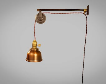 Vintage Industrial Pulley Lamp Wall Mount Pendant Light Etsy
