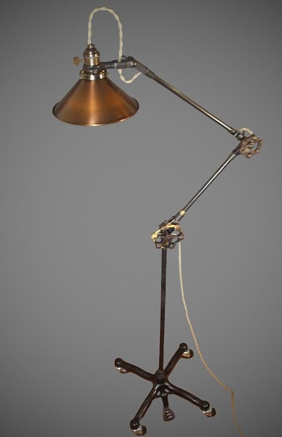 Vintage Industrial Floor Lamp Machine, Vintage Task Floor Lamp