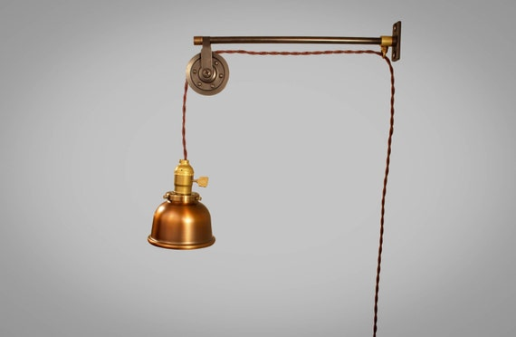 Vintage Industrial Pulley Sconce Machine Age COPPER SHADE Wall Mount Light