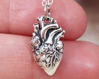 0e09801e35e08 Anatomical Heart Necklace Sterling Silver