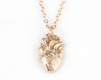 Rose Gold Anatomical Heart Necklace, Realistic Heart Necklace, Real Heart Necklace, Heart Jewelry, Zombie Heart Necklace