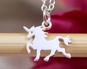 Unicorn Necklace - Sterling Silver Tiny Unicorn Charm Necklace - Magical Unicorn Jewelry