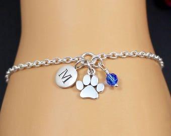 Personalized Paw Print Bracelet, Paw Print Jewelry, Dog Paw Bracelet, Cat Paw Bracelet, Pet Memorial Bracelet, Pet Remembrance Bracelet