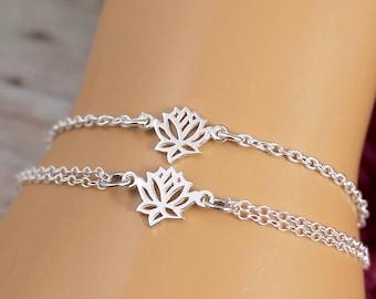 Sterling Silver Lotus Bracelet, Lotus Flower Bracelet, Lotus Flower Jewelry, Charm Bracelet, Yoga Bracelet, Yoga Bride, Bridesmaid Bracelet