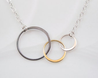 Mixed Metal Three Circle Necklace | Triple Circle Necklace | Linked Eternity Circles Necklace | Entwined Rings | Interlocking Circles
