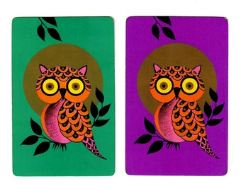 FULL MOON OWLS (2) Vintage Single Swap Playing Cards Paper Ephemera Scrapbook