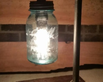 Steampunk Blue Ball Jar pipe Lamp