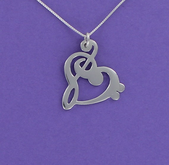 Bass Treble Music Musician Band NEW 925 Sterling Silver Clef Heart Charm