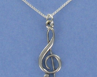 Treble Clef Necklace - 925 Sterling Silver - on Gift Card with Musical Quote
