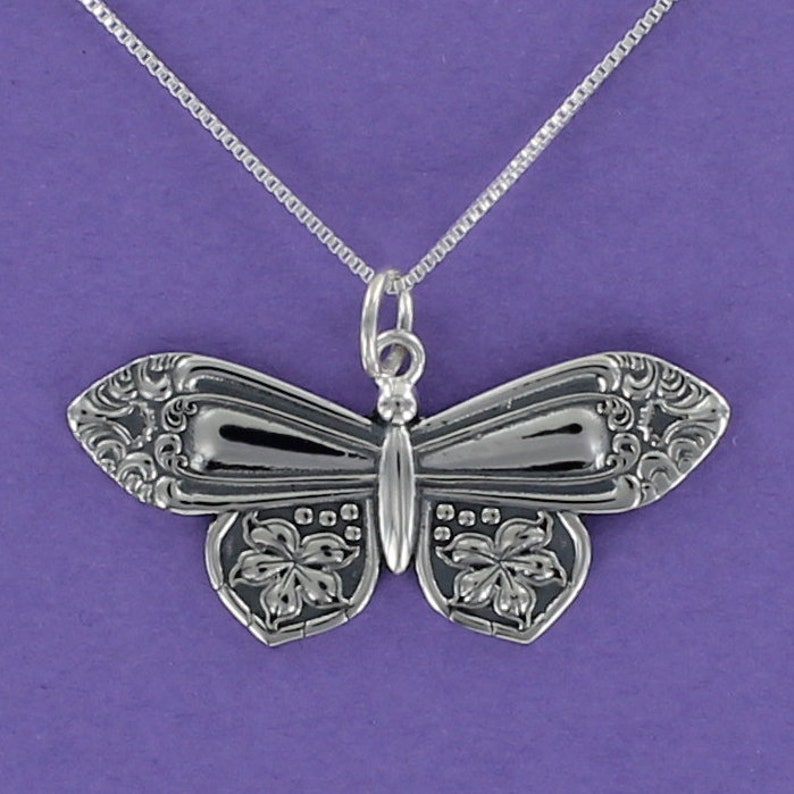 Spoon Handle Butterfly Necklace 925 Sterling Silver on Gift Card with Quote
