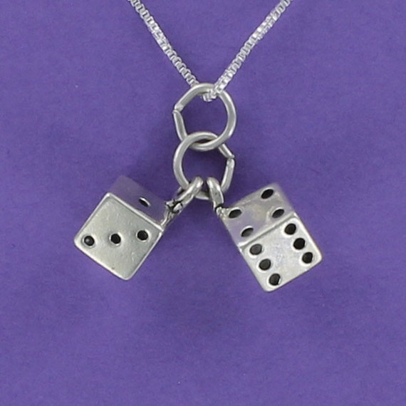 gamble Dice 3D Sterling Silver Lucky Charm