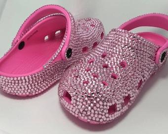 5d0f5e07841a2d Crocs Custom Made with Crystals Pink