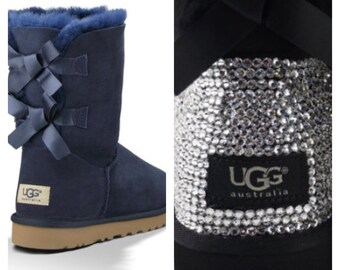 ugg boots blue with bows