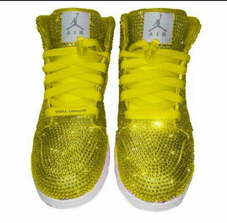 34a70089357a Custom Nike Shoes Yellow Nike Shoes Swarovski Nike