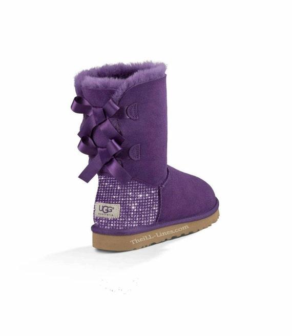 custom uggs purple bailey uggs bailey bow uggs uggs bling etsy rh etsy com