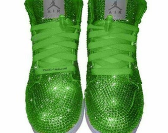 Custom Shoes, Nike  Swarovski Nike Shoes,  Rhinestone Shoes, Lime Green Nike, Trisha Paytas  Nike Shoes, Custom Nike Shoes, Nike Jordan Shoe