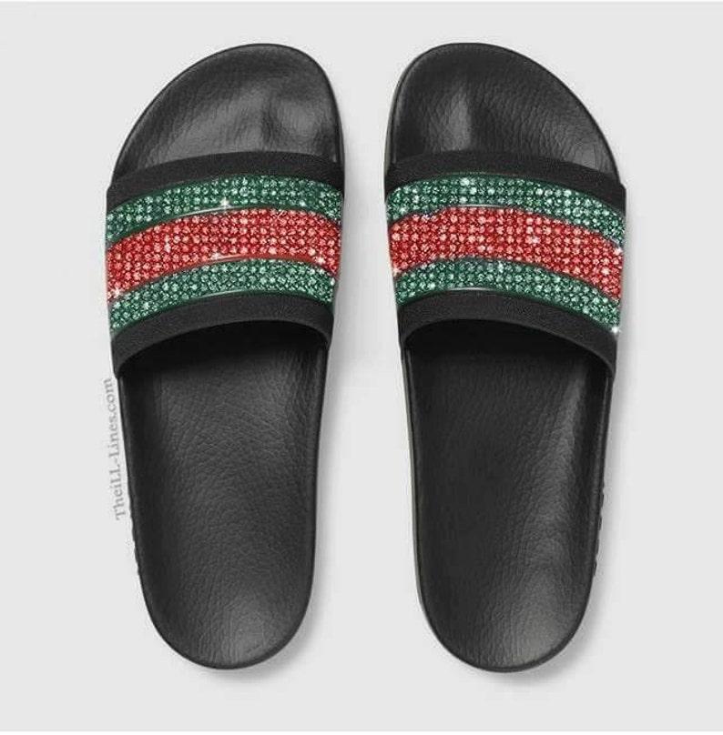 c4e474a5a Black GG Gucci sandals Gucci women s slide sandals