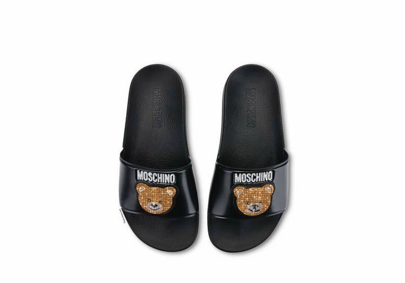 32a00abf2f4 Custom Moschino Sandals Swarovski Sandals Moschino Slides