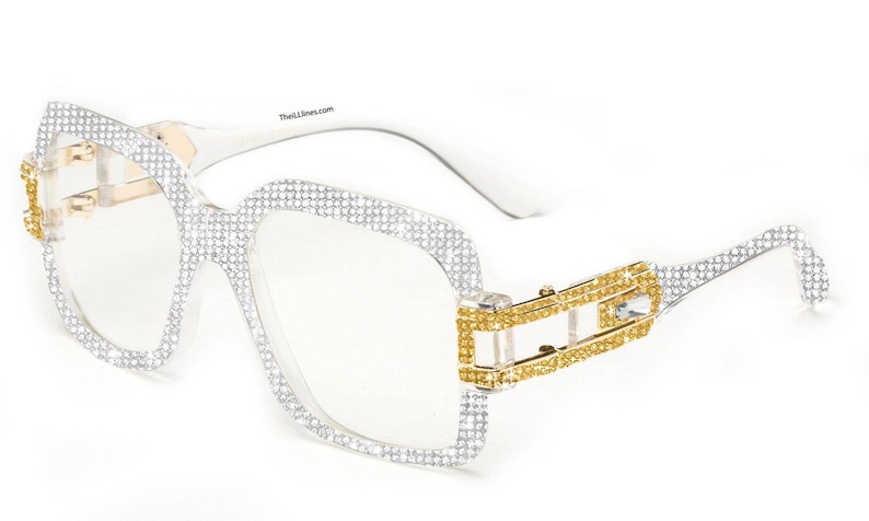 69ec9244cdfeb Custom Swarovski White Retro Glasses Gold Metal Accents with