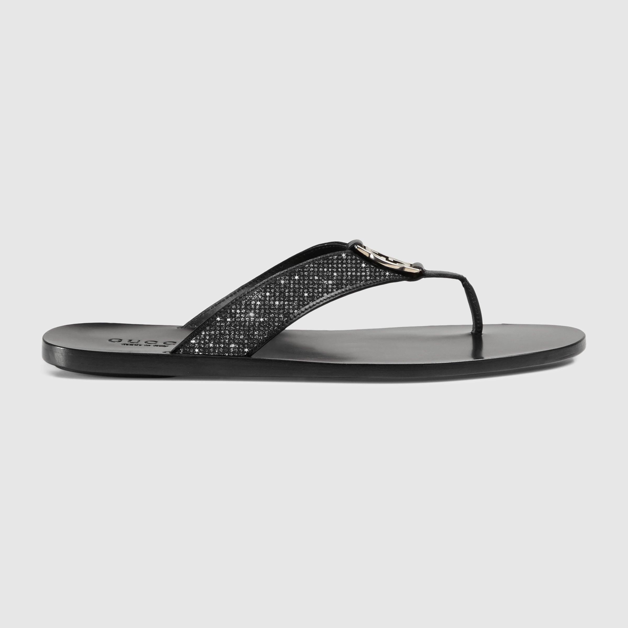huge selection of d2808 e38c1 Gucci Leather thong sandal Swarovski Gucci slides Gucci   Etsy