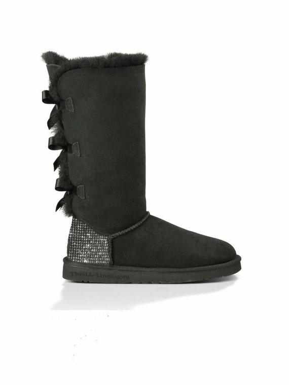 Custom Uggs, Bailey Bow Tall UGG Boots, Uggs, Tall Uggs, Black Bailey Bow Uggs, Uggs with Bows, Ugg Boots, Swarovski Uggs, Ugg Tall Boot