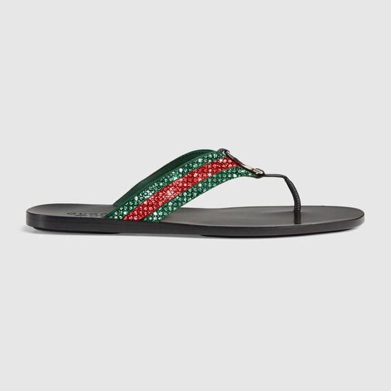 c56c804a2 Gucci Web strap thong sandal Swarovski Gucci slides