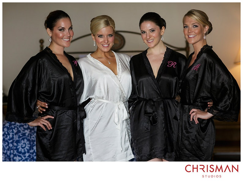 Bridesmaid Robes with lace Black robes silk satin robe  874736d09