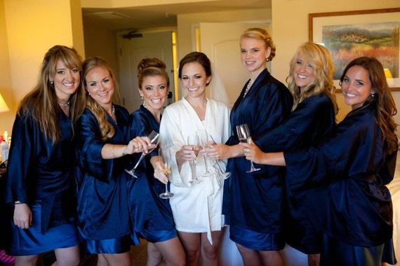 agreatvarietyofmodels big collection buy online Bridesmaid robes Navy wedding robes bridesmaid silk robe dressing gown  personalized silk robe kimono robe set bridal robe